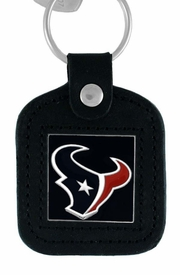 <Br>               LEAD & NICKEL FREE!!<BR>           OFFICIAL NFL LICENSED!!<Br>    W15126KC - HOUSTON TEXANS<Br>GENUINE BLACK LEATHER FRAMED<Br>       KEY CHAIN AS LOW AS $2.99