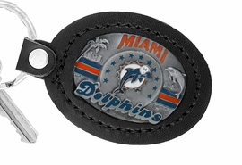 <Br>               LEAD & NICKEL FREE!!<BR>           OFFICIAL NFL LICENSED!!<Br>            W19672KC - MIAMI DOLPHINS <Br>GENUINE BLACK LEATHER FRAMED<Br>KEY CHAIN FROM $4.99