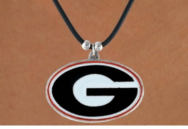 "<Br>                  LEAD & NICKEL FREE!!<Br>OFFICIALLY LICENSED COLLEGE LOGO!!<Br>   W15750N - UNIVERSITY OF GEORGIA<Br>""BULLDOGS""  BLACK CORD NECKLACE<Br>                FROM $2.99"