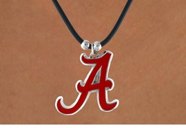 <Br>                   LEAD & NICKEL FREE!!<Br> OFFICIALLY LICENSED COLLEGE LOGO!!<Br>   W15767N - UNIVERSITY OF ALABAMA<Br>CRIMSON TIDE BLACK CORD NECKLACE<Br>                  FROM $6.75 TO $15.00