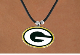 <Br>            LEAD & NICKEL FREE!!<Br>           OFFICIALLY LICENSED!!<Br>  NATIONAL FOOTBALL LEAGUE!!!<Br> W14846N - GREENBAY PACKERS<Br>    BLACK CORD LOGO NECKLACE<br>                  AS LOW AS $2.99