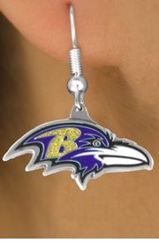 <bR>            LEAD & NICKEL FREE!!<Br>           OFFICIALLY LICENSED!!<Br>   NATIONAL FOOTBALL LEAGUE!!<Br>  W14899E - BALTIMORE RAVENS<Br>LOGO EARRINGS AS LOW AS $4.73