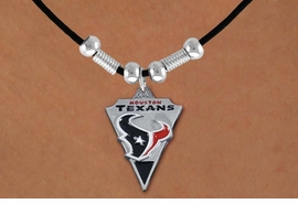 <Br>                LEAD & NICKEL FREE!!<Br>              OFFICIALLY LICENSED!!<Br>      NATIONAL FOOTBALL LEAGUE!!<Br>W14922N - HOUSTON TEXANS LOGO<Br>       BLACK CORD LOGO NECKLACE<br>                    AS LOW AS $6.30