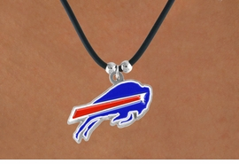<Br>            LEAD & NICKEL FREE!!<Br>          OFFICIALLY LICENSED!!<Br> NATIONAL FOOTBALL LEAGUE!!!<Br>      W14947N - BUFFALO BILLS<Br>   BLACK CORD LOGO NECKLACE<br>                 AS LOW AS $6.30