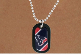 <Br>       LEAD & NICKEL FREE!!<Br>      OFFICIALLY LICENSED!!<Br>NATIONAL FOOTBALL LEAGUE!!<Br>W18595N - HOUSTON TEXANS<Br>          DOG TAG NECKLACE<br>        FROM $4.73 TO $10.50