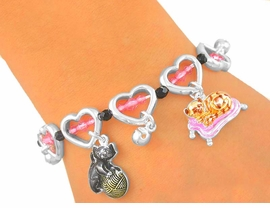 "<Br>             LEAD & NICKEL FREE!!<br>      S2805B - ""KITTY KAT LOVE""<BR>      HEART LINK TOGGLE CHARM<BR>BRACELET FROM $4.50 TO $10.00"
