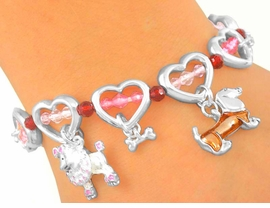 "<bR>        LEAD & NICKEL FREE!!<Br>S2806B - ""PUPPY DOG LOVE""<Br>    HEART TOGGLE BRACELET<bR>       FROM $4.50 TO $10.00"
