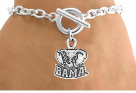 """<Br>              LEAD & NICKEL FREE!!<Br>        STERLING SILVER PLATED!!<bR>W12875B - LICENSED UNIVERSITY<Br>   OF ALABAMA """"BAMA"""" MASCOT<bR>  BRACELET FROM $3.94 TO $8.75"""