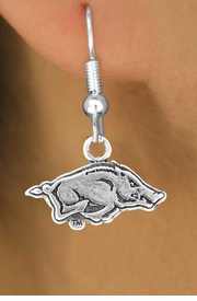 <Br>                 LEAD & NICKEL FREE!!<Br>           STERLING SILVER PLATED!!<bR>   W12904E - LICENSED UNIVERSITY<Br>         OF ARKANSAS RAZORBACKS<Br>MASCOT EARRINGS AS LOW AS $1.99