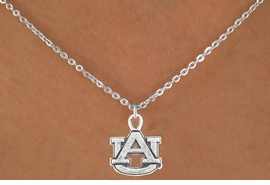 <Br>           LEAD & NICKEL FREE!!<Br>     STERLING SILVER PLATED!!<bR>W12986N - LICENSED AUBURN<Br>UNIVERSITY TIGERS NECKLACE<Br>               AS LOW AS $3.65