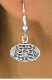 <Br>           LEAD & NICKEL FREE!!<Br>     STERLING SILVER PLATED!!<bR>W13005E - LICENSED AUBURN<Br>UNIVERSITY TIGERS EARRINGS<Br>               AS LOW AS $3.65