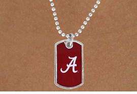 "<Br>             LEAD & NICKEL FREE!!<Br>       STERLING SILVER PLATED!!<bR>W13457N - LICENSED UNIVERSITY<Br>    OF ALABAMA ""CRIMSON TIDE""<br>       DOG TAG LOGO  NECKLACE<BR>            FROM $3.94 TO $8.75"