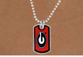 "<Br>               LEAD & NICKEL FREE!!<Br>         STERLING SILVER PLATED!!<bR>  W13765N - LICENSED UNIVERSITY<BR>OF GEORGIA ""BULLDOGS"" DOG TAG<br>  LOGO NECKLACE AS LOW AS $1.99"