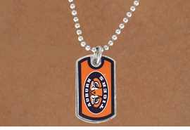 """<Br>              LEAD & NICKEL FREE!!<Br>        STERLING SILVER PLATED!!<bR>    W13813N - LICENSED AUBURN<Br>   UNIVERSITY """"TIGERS"""" DOG TAG<BR>LOGO NECKLACE AS LOW AS $3.50"""