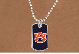 """<Br>              LEAD & NICKEL FREE!!<Br>        STERLING SILVER PLATED!!<bR>    W13814N - LICENSED AUBURN<Br>   UNIVERSITY """"TIGERS"""" DOG TAG<BR>LOGO NECKLACE AS LOW AS $3.50"""