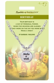 "<Br>               LEAD & NICKEL FREE!!<Br>        SYMBOLS OF INSPIRATION!!<Br>W15337B - ""BIRTHDAY"" DISC DROP<Br>    BRACELET WITH GIFT CARD AND<Br>        ENVELOPE AS LOW AS $6.97"