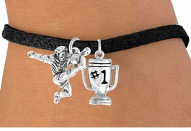 "<Br>           LEAD & NICKEL FREE!!<Br>    W14468B - SOCCER KICK &<BR>""#1"" TROPHY SUEDE BRACELET<BR>                AS LOW AS $4.15"