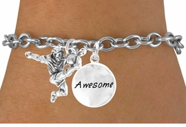 "<Br>          LEAD & NICKEL FREE!!<Br>    W14469B - SOCCER KICK &<BR>""AWESOME"" CHAIN BRACELET<BR>               AS LOW AS $4.15"