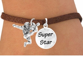 "<Br>            LEAD & NICKEL FREE!!<Br>     W14470B - SOCCER KICK &<BR>""SUPER STAR"" SUEDE BRACELET<BR>                 AS LOW AS $4.15"