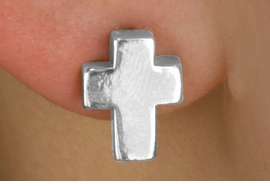 <Br>                LEAD & NICKEL FREE!!<Br>   W14492E - MINIATURE SILVER TONE<Br>CROSS EARRINGS FROM $2.25 TO $5.00