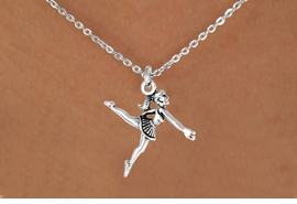"<Br>             LEAD & NICKEL FREE!!<BR>W14575N - SILVER BALLERINA ON<Br>CHILDREN'S 12"" CHAIN NECKLACE<BR>                   AS LOW AS $3.55"