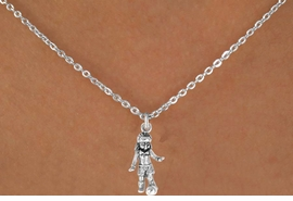"<Br>             LEAD & NICKEL FREE!!<BR>    W14577N - SOCCER GIRL ON A<Br>CHILDREN'S 12"" CHAIN NECKLACE<BR>                   AS LOW AS $3.55"