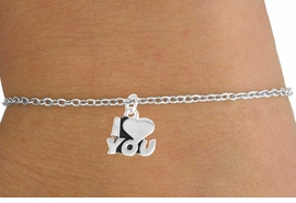 """<Br>         LEAD & NICKEL FREE!!<BR> W14592B - """"I LOVE YOU"""" ON<Br>CHILDREN'S CHAIN BRACELET<BR>              AS LOW AS $3.25"""