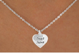 "<Br>             LEAD & NICKEL FREE!!<BR>W14601N - ""TRUST JESUS"" HEART<Br>CHILDREN'S 12"" CHAIN NECKLACE<BR>                FROM $3.55 TO $7.50"
