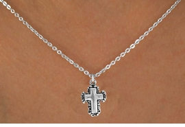 "<Br>              LEAD & NICKEL FREE!!<BR> W14606N - LACE TRIM CROSS ON<Br>CHILDREN'S 12"" CHAIN NECKLACE<BR>              FROM $3.55 TO $7.50"