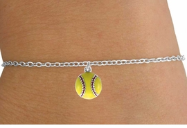 <Br>          LEAD & NICKEL FREE!!<BR>W14629B - YELLOW SOFTBALL<Br>  CHILDREN'S CHAIN BRACELET<BR>          FROM $3.25 TO $7.50