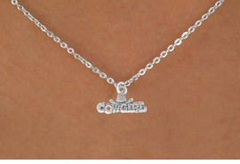 "<Br>             LEAD & NICKEL FREE!!<BR>W14632N - ""COWGIRL"" MARQUEE<Br>CHILDREN'S 12"" CHAIN NECKLACE<BR>                   AS LOW AS $3.55"