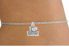"<Br>        LEAD & NICKEL FREE!!<BR>  W14633B - ""I LOVE DANCE""<Br>CHILDREN'S CHAIN BRACELET<BR>              AS LOW AS $3.25"