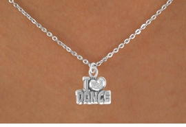 "<Br>            LEAD & NICKEL FREE!!<BR>       W14634N - ""I LOVE DANCE""<Br>CHILDREN'S 12"" CHAIN NECKLACE<BR>                  AS LOW AS $3.55"