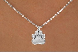 "<Br>            LEAD & NICKEL FREE!!<BR>    W14640N - SILVER TONE PAW<Br>CHILDREN'S 12"" CHAIN NECKLACE<BR>                  AS LOW AS $3.55"
