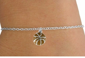 <Br>         LEAD & NICKEL FREE!!<BR>W14647B - BASKETBALL ON A<Br> CHILDREN'S CHAIN BRACELET<BR>               AS LOW AS $3.25