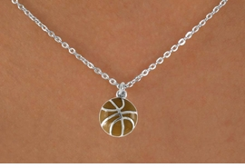 "<Br>             LEAD & NICKEL FREE!!<BR>    W14648N - BASKETBALL ON A<Br>CHILDREN'S 12"" CHAIN NECKLACE<BR>                   AS LOW AS $3.55"