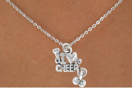 "<Br>             LEAD & NICKEL FREE!!<BR>    W14652N - ""I LOVE TO CHEER""<Br>CHILDREN'S 12"" CHAIN NECKLACE<BR>                  AS LOW AS $3.55"