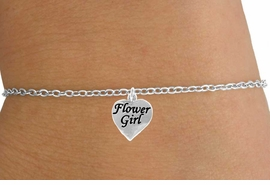 "<Br>             LEAD & NICKEL FREE!!<BR>W14744B - ""FLOWER GIRL"" HEART<Br>     CHILDREN'S CHAIN BRACELET<BR>                   AS LOW AS $3.25"