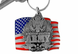 """<Br>                LEAD & NICKEL FREE!!!<Br>W15076KC - """"UNITED STATES ARMY""""<br>     AMERICAN FLAG ARMED FORCES<br>          KEY CHAIN AS LOW AS $4.73"""