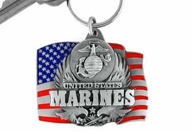 """<Br>                   LEAD & NICKEL FREE!!!<Br>W15079KC - """"UNITED STATES MARINES""""<br>        AMERICAN FLAG ARMED FORCES<br>             KEY CHAIN AS LOW AS $4.73"""
