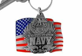 """<Br>               LEAD & NICKEL FREE!!!<Br>W15081KC - """"UNITED STATES NAVY""""<br>    AMERICAN FLAG ARMED FORCES<br>        KEY CHAIN AS LOW AS $4.73"""