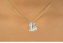 "<Br>              LEAD & NICKEL FREE!!<br>W15095N - TWO-TONE MINIATURE<Br>         ""16"" AND HEART NECKLACE <BR>                        AS LOW AS $3.65"