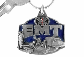 "<Br>          LEAD & NICKEL FREE!!<Br>   W15147KC - ""EMT"" PEWTER<Br>& BLUE ENAMEL BACKGROUND<Br>                           KEY CHAIN $1.99"