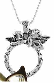 """<Br>                   LEAD & NICKEL FREE!!<BR> W15880EH - SILVER TONE """"2 ANGELS""""<Br>EYEGLASS/I.D. TAG HOLDER MAGNETIC<Br>       PENDANT FROM $4.50 TO $10.00"""