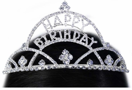 "<Br>          LEAD & NICKEL FREE!!<Br>W15928T - GENUINE AUSTRIAN<Br>  CRYSTAL ""HAPPY BIRTHDAY""<Br> TIARA FROM $15.90 TO $30.00"