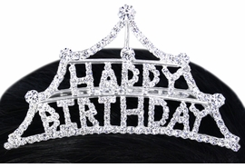 "<Br>          LEAD & NICKEL FREE!!<Br>W15940T - ""HAPPY BIRTHDAY""<Br>     AUSTRIAN CRYSTAL TIARA<Br>  COMB FROM $8.13 TO $15.00"