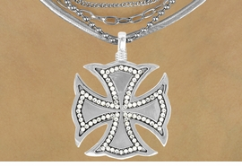 "<Br>                 LEAD & NICKEL FREE!!<Br>   W16212N - AUSTRIAN CRYSTAL &<Br>  MIRROR FINISH ""CHOPPER"" CROSS<Br>PENDANT & MULTI-CHAIN NECKLACE<Br>              FROM $20.81 TO $46.25"
