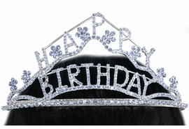 "<Br>                  LEAD & NICKEL FREE!!<Br>       W16254T - GENUINE AUSTRIAN<Br>CRYSTAL ""HAPPY BIRTHDAY"" FLORAL<Br> WAVE TIARA FROM $13.50 TO $30.00"