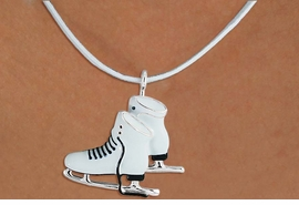 <Br>               LEAD & NICKEL FREE!!<BR>W16571N - WHITE ICE SKATES ON A<Br>    WHITE SUEDE NECKLACE FROM<br>                     $6.19 TO $13.75