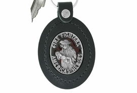 """<Br>                LEAD & NICKEL FREE!!<Br>  W17360KC - """"AMERICA'S HEROES""""<Br>RED ENAMELED FIREFIGHTER & BABY<Br>        GENUINE LEATHER KEY CHAIN<BR>                                 $9.05"""